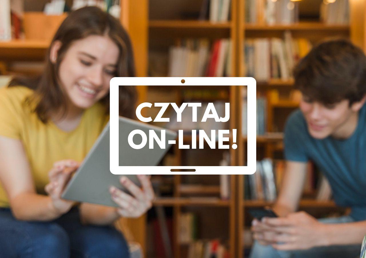 czytaj online plakat w tle chłopak i dziewczyna na tle książek czytają z tableta