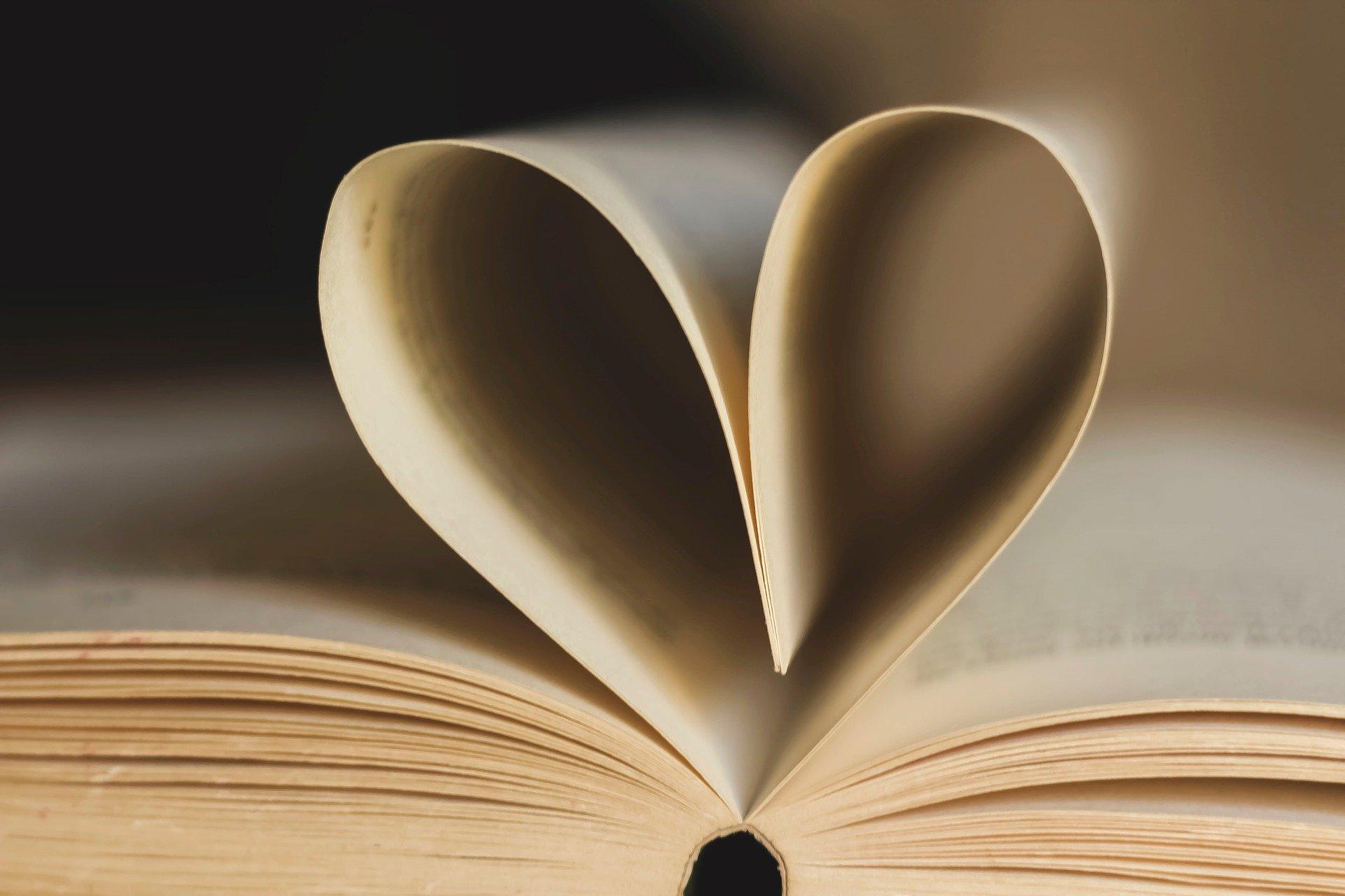 Zdjęcie książki, której kartki tworzą serce
