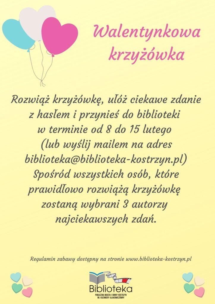 Plakat informujący okrzyżówce walentynkowej