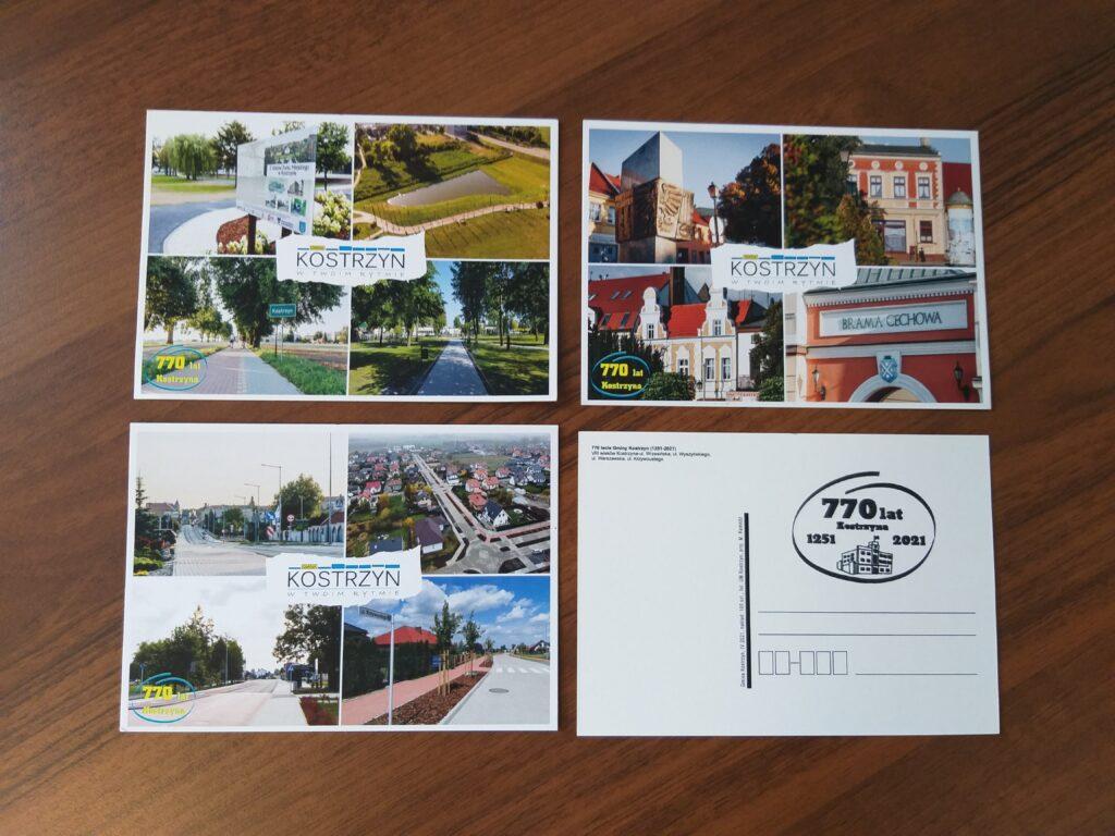 4 pocztówki zwidokami Kostrzyna ipieczątka zokazji 770-lecia nadania praw miejskich Kostrzynowi