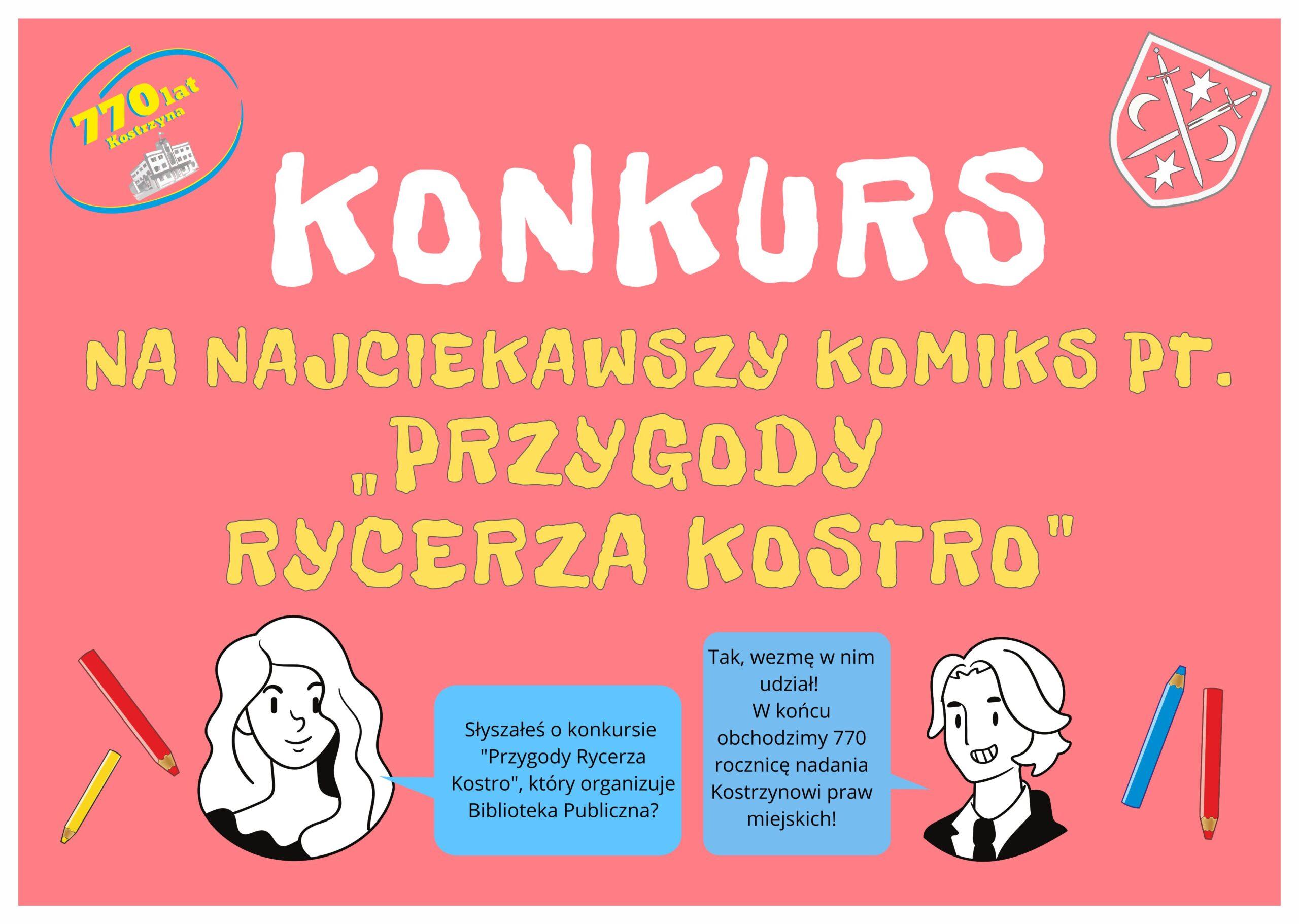 baner z napisem konkurs na najciekawszy komiks o przygodach Rycerza Kostro