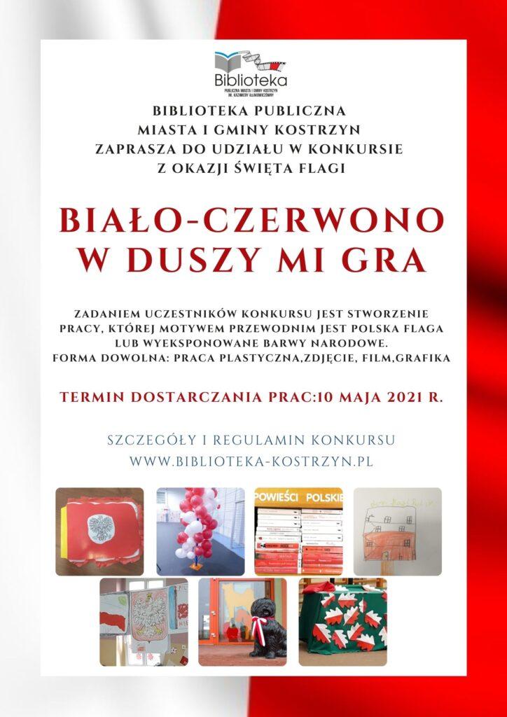 plakat natle flagi Polski informacje okonkursie Białoczerwono wduszy mi gra