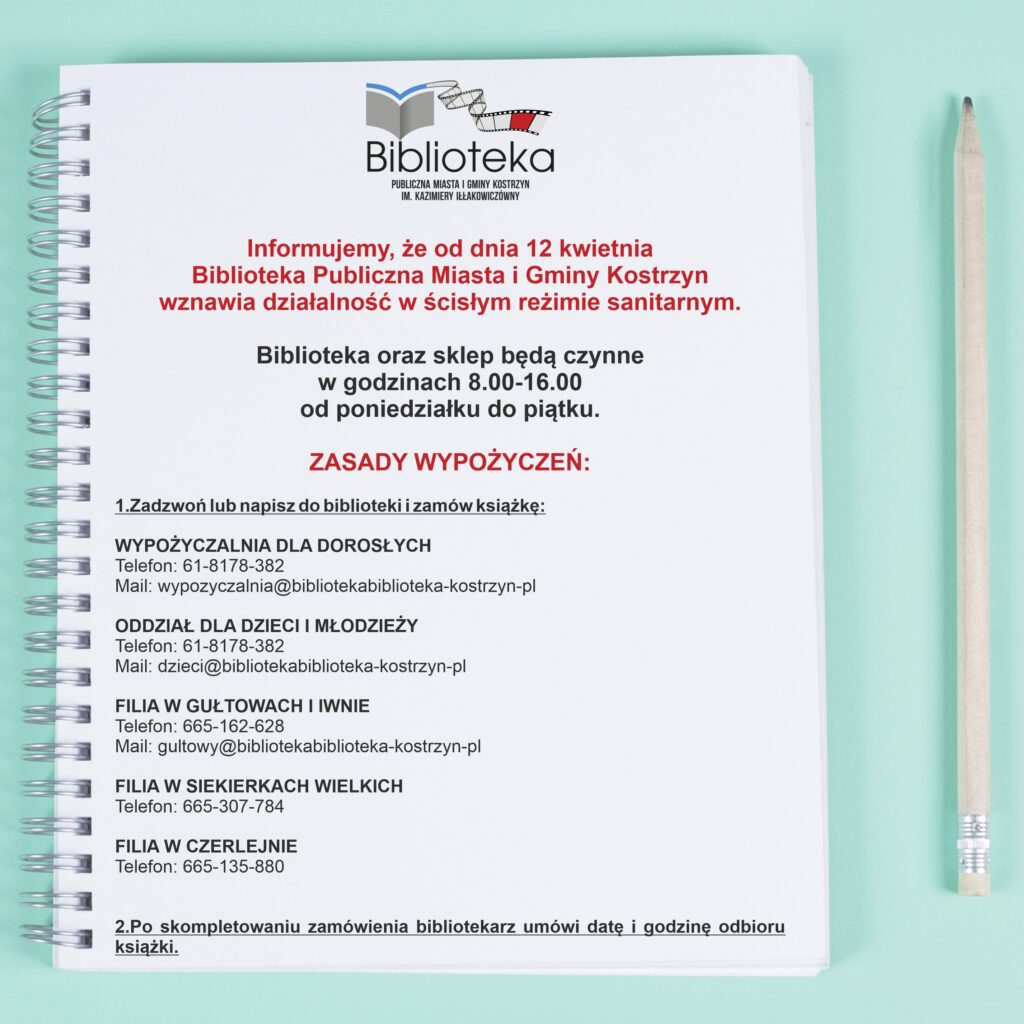 notatnik informacja owznowieniu działalnosci przezbiblioteke od12 kwietnia