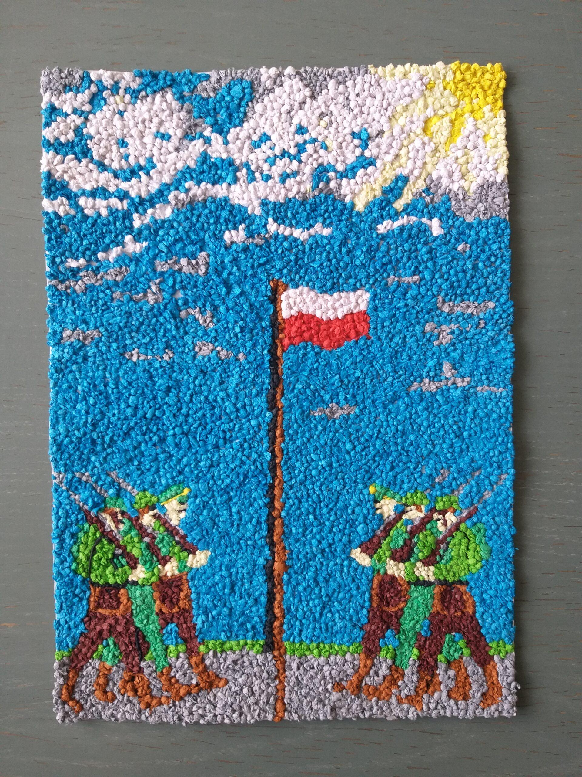 zolnierze pod flagą, praca wykonana z papierowych kuleczek