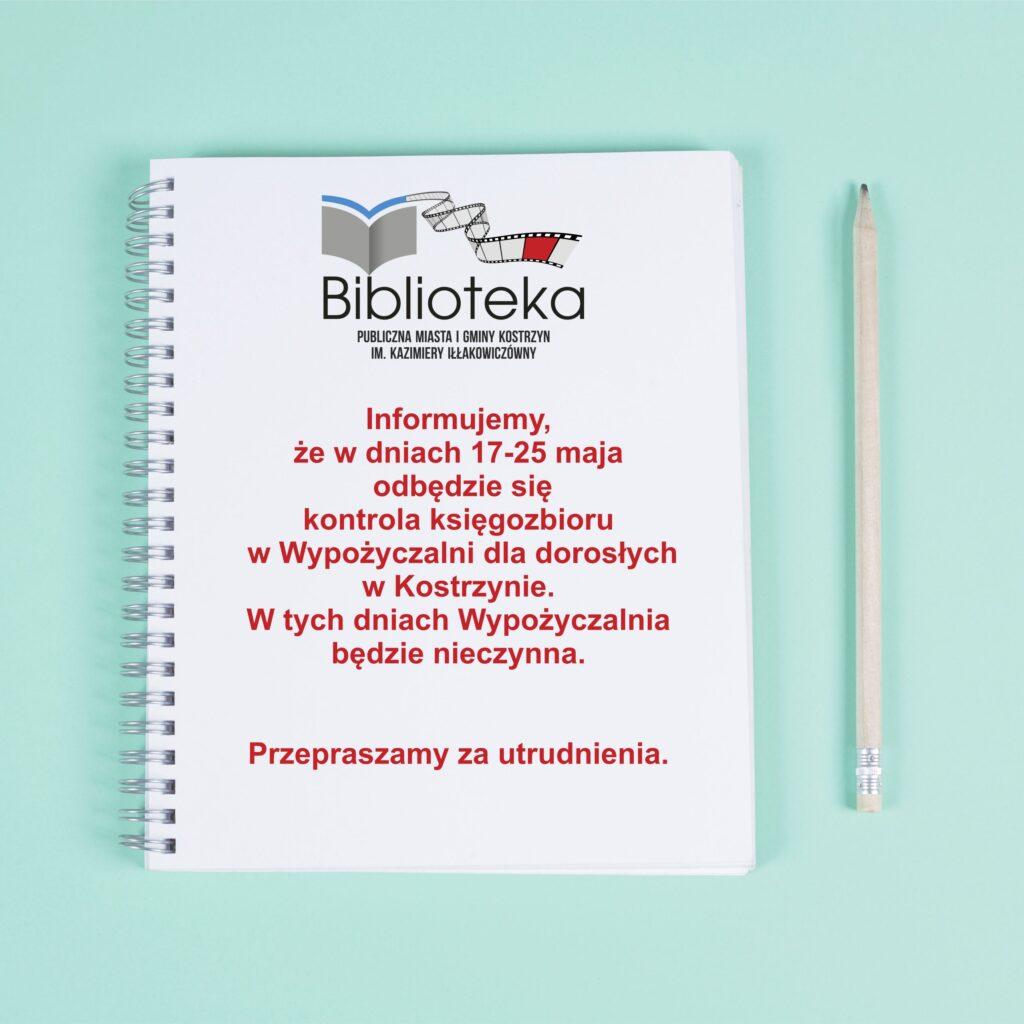 kartka znotesu zinformacją oterminie kontroli księgozbioru