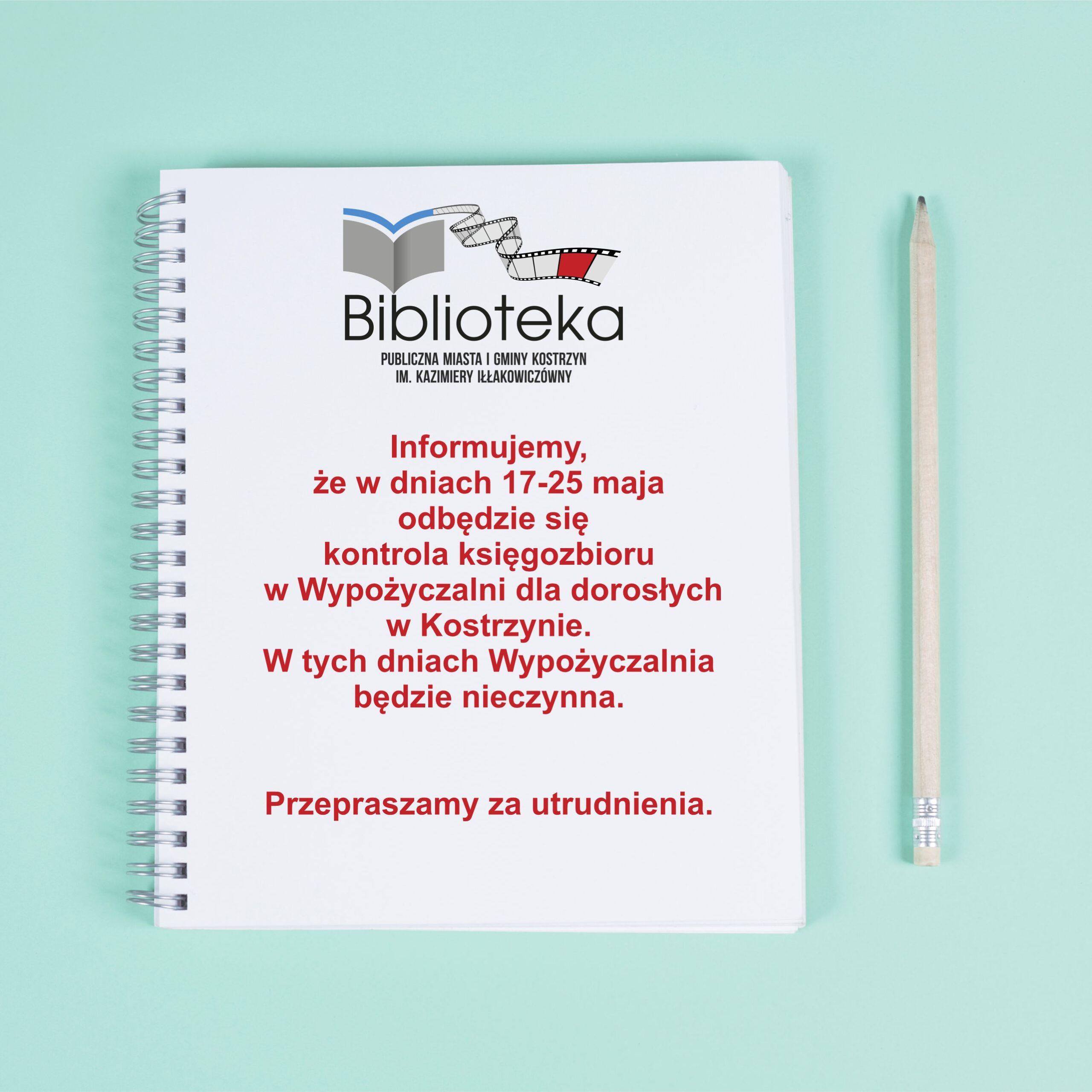 kartka z notesu z informacją o terminie kontroli księgozbioru