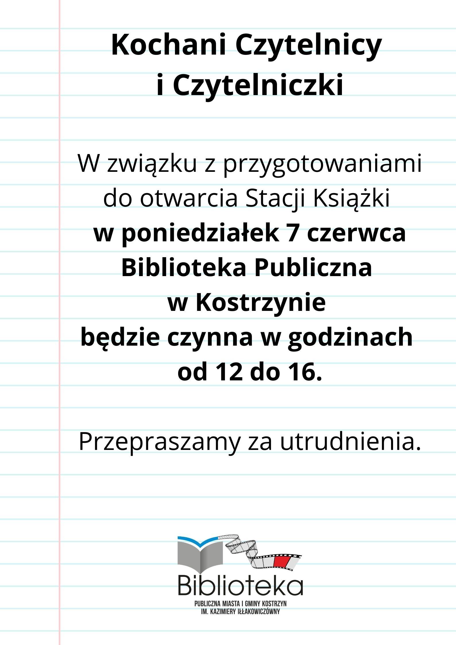 kartka z notatnika o zmianie godzin pracy biblioteki w dniu 7 czerwca