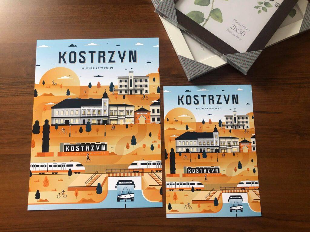 plakaty zgrafiką pokazującą miejsca ciekawe wKostrzynie wgórnym rogu ramki dozdjęć