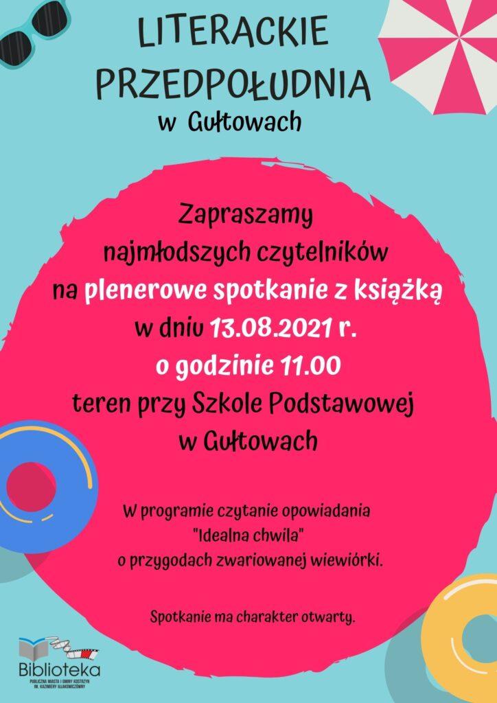plakat informacyjny ospotkaniu plenerowym zksiążką dla dzieci wGułtowach wpiatek ogodzinie 11