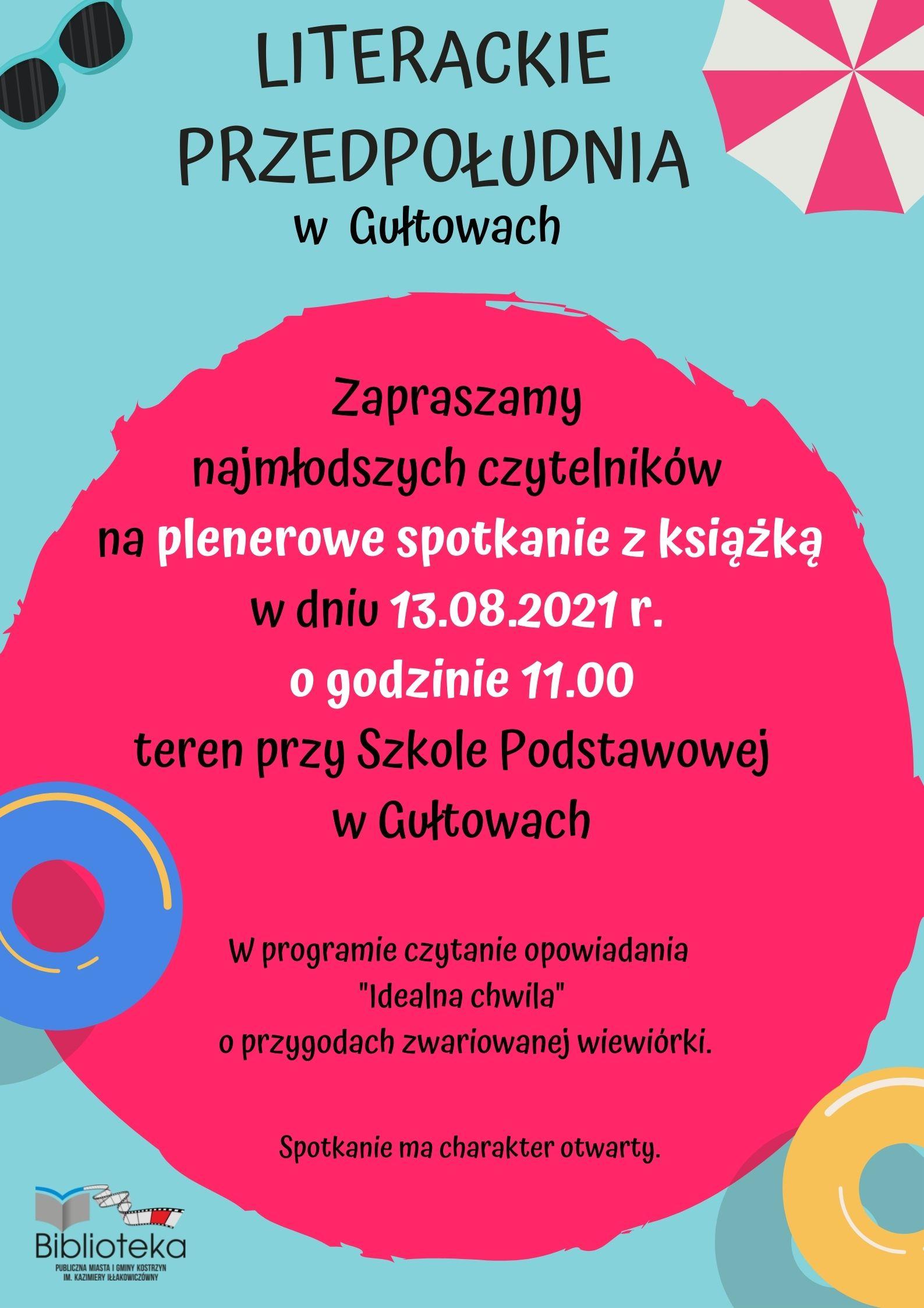 plakat informacyjny o spotkaniu plenerowym z książką dla dzieci w Gułtowach w piatek o godzinie 11