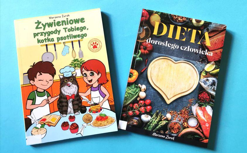 2 poradniki żywieniowe pani Marzeny Żurek dla dzieci idorosłych, książki dowypożyczenia wBibliotece wKostrzynie