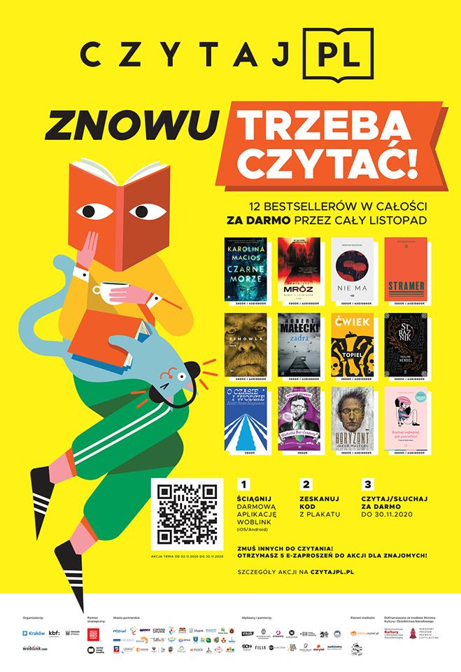 Plakat CzytalPL z kodem QR 12 darmowych bestsellerów online