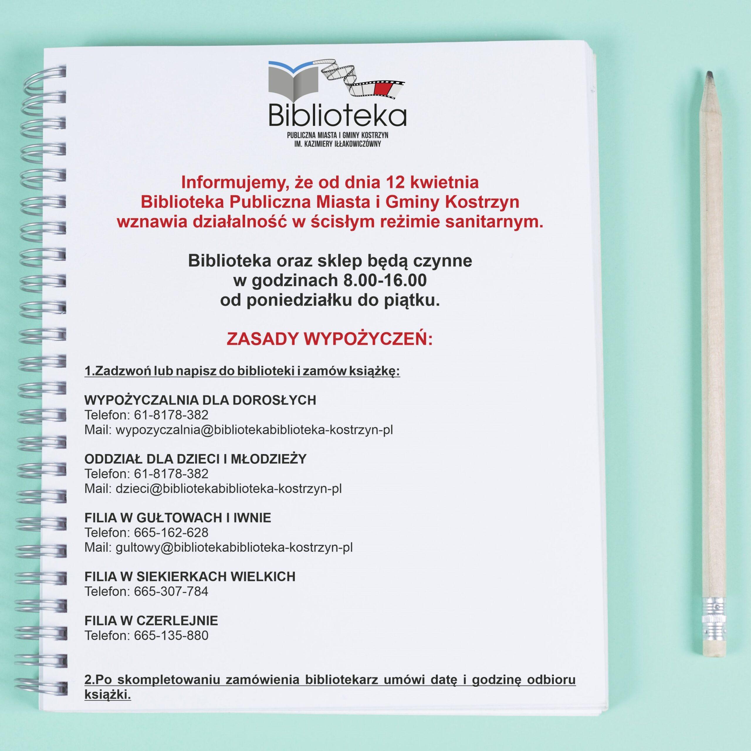 notatnik informacja o wznowieniu działalnosci przez biblioteke od 12 kwietnia