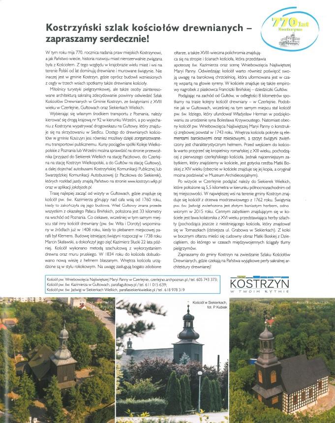 artykuł o szlaku kościolów drewnianych a pod tekstem 3 zdjęcie kosciółków